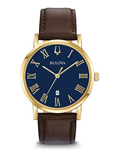 Bulova Herenhorloge analoog kwarts horloge met lederen armband 97B177