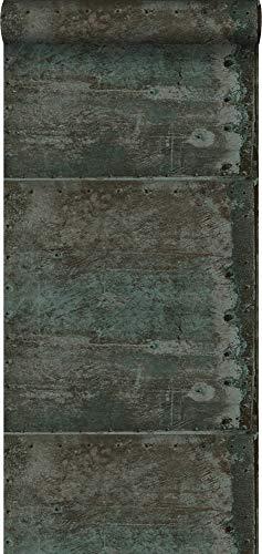 behang grote verweerde roestige metalen platen met klinknagels bruin en licht petrol blauw - 337226 - van Origin - luxury wallcoverings