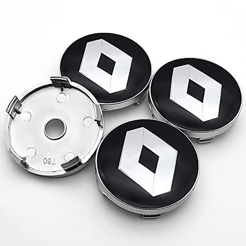 QUXING 4 Stück Radnabenkappen Nabendeckel, für Renault- Espace Twingo Megane Koleos 60mm Auto Felgendeckel Zubehör Zierdeckel Emblem Logo Abzeichen Accessoires