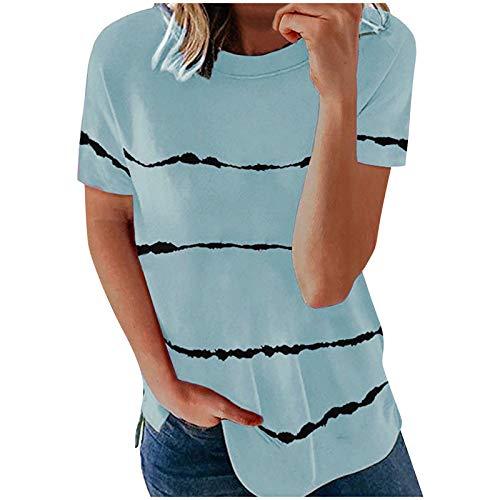 Kpasati Damen Tunika Horizontale Streifen Sommer Einfachheit Kurzarm BlusenCasual Übergröße T-Shirt Oberteile Tops