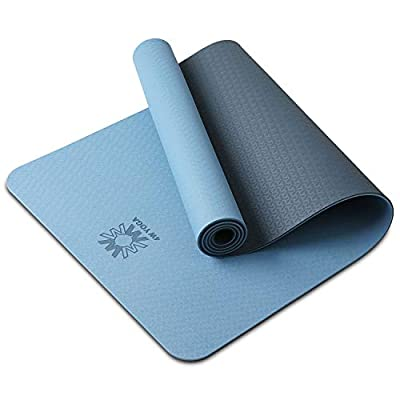 """PIDO Yoga Mat Eco Friendly TPE Non Slip Yoga Mats By SGS Certified with Carrying Strap,72""""x24"""" Extra Thick 1/4"""" for Yoga Pilates Fitness Exercise Mat"""