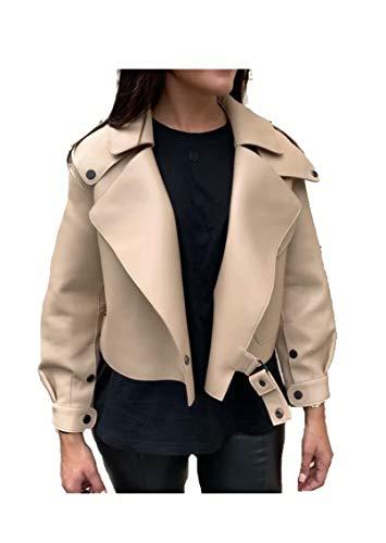 Damen Luxus Lederjacke Bikerjacke aus 100% Echtleder im Oversized Look (Beige, S)