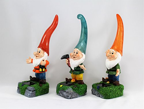 Solar Powered Garden Gnomes Set of 3 Blue, Red & Orange Hats By HOME HUT