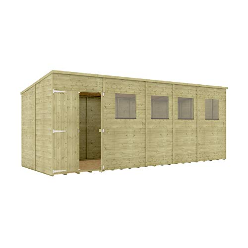 Project Timber 18 x 6 Pressure Treated Hobbyist Pent Shed Tongue & Groove Shiplap Cladding Construction Offset Door OSB Floor Wooden Garden Shed 5.48m x 1.82m