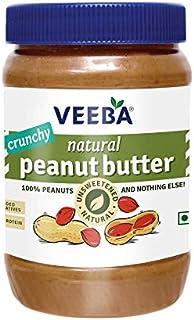 VEEBA Natural Peanut Butter Crunchy - Unsweetened, (100% Peanuts) Jar, 1000 g