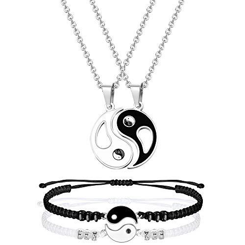 Subiceto Yin Yang Necklace Bracelet Set for Couple BFF Matching Bracelets Puzzle Pendant Necklace Set Valentine's Gifts