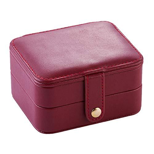 YHDNCG Caja de joyería,Caja de almacenamiento portátil de múltiples capas,Pendientes de joyería de cuero PU pulseras adornos caja de joyería