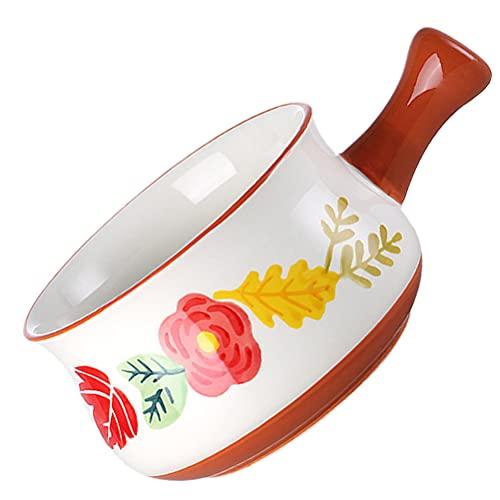 DOITOOL - Cuenco reutilizable de moda creativa Mik Pot de cerámica pequeña cacerola de leche tazón de sopa para cocina