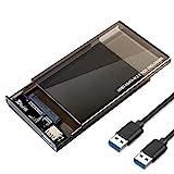 EasyULT Caja Externo para Disco Duro de 2.5' con Cable USB 3.0, Carcasa para Disco Duro 2.5 Pulgadas HDD SSD[Soporte UASP SATA III] No Requiere Herramientas - Negro Translúcido