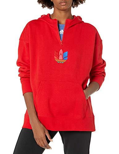 adidas Originals Adicolor 3D Trefoil Sudadera con capucha para mujer - rojo - S