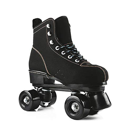 Classic Roller Skates Artistic Quad Roller Skates Roller Boots with PU Wheel Cowhide Upper Material for Girls Boys Men And Womens Adult BlackEUR39UK65