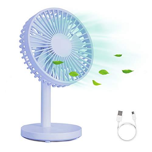 WD&CD Ventilador de Mesa Ventilador USB Flujo de Aire Potente con 7 Cuchillas, Ventilador Silencioso para Dormir, 3 Velocidades, Cabeza Ajustable -Azul