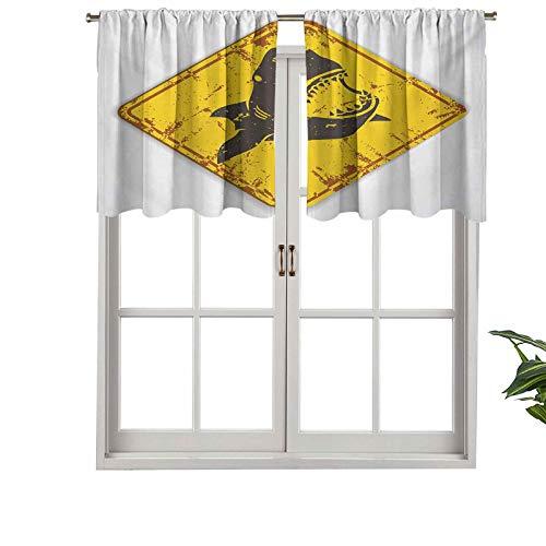 Hiiiman Cortina opaca con dobladillo para barra, diseño de tiburón con texto en inglés 'Caution Shark Sign Sharp Teeth Danger', juego de 1, 91,4 x 45,7 cm para dormitorio y sala de estar