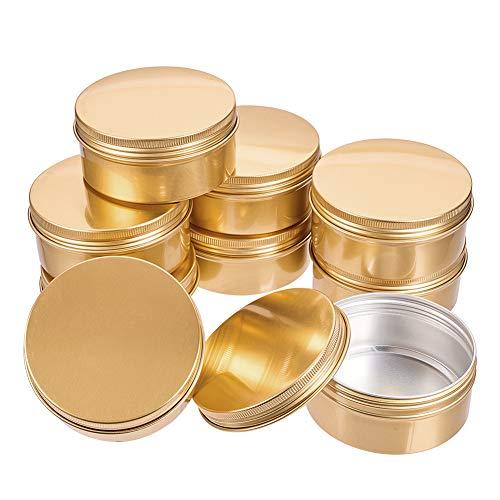 BENECREAT 10 Pcs 150ml Aluminiumdose Gläser, Runde Aluminiumdose Kosmetikbehälter mit Schraubverschluss Deckel für DIY Handwerk Travel Storage-Golden