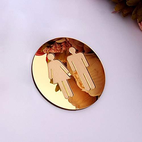 WZCXYX 3D Acrílico Espejo Redondo Aseo Signo De La Puerta Hombres Mujeres Baño WC Negro Oro Plata Moderno Moderno Base Etiqueta De Pared Decoración(Size:20cm (8 in),Color:Dorado)