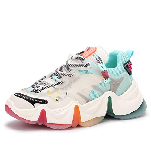 Mujer Primavera Otoño Zapatillas clunky Plataforma con Cordones Zapatillas de Malla Zapatos Deportivos Casuales Zapatillas Deportivas al Aire Libre Zapatos