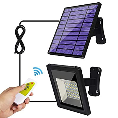 Solar Lights Outdoor, IP65 Waterproof Solar Flood Lights 30 LED Spotlight, Remote Control 9.2Ft Cord Security Pendant Light Kits with Adjustable Solar Panel for Indoor Home Shed Gazebo Porch