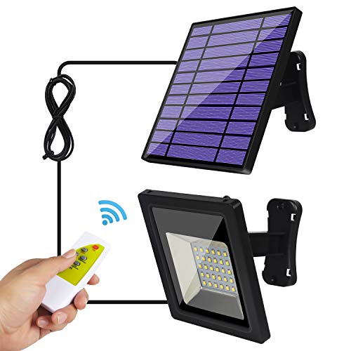 Solar Lights Outdoor - Solar Flood Lights - Security Pendant Light Kits for Indoor Home Shed Gazebo Porch, with Adjustable Solar Panel and 9.2Ft Cord Remote Control