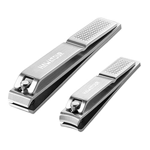 Nail Clippers Set, Ultra Sharp Sturdy Fingernail and Toenail Clipper Cutters with Visibly Tin Case by HAWATOUR - Stainless Steel