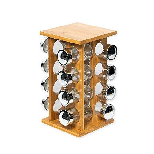 Ambico Gewürzregal ESPECIAS aus Bambus - Gewürzständer mit 16 Gewürzgläsern - Maße: 15x15x30 cm (LxBxH)