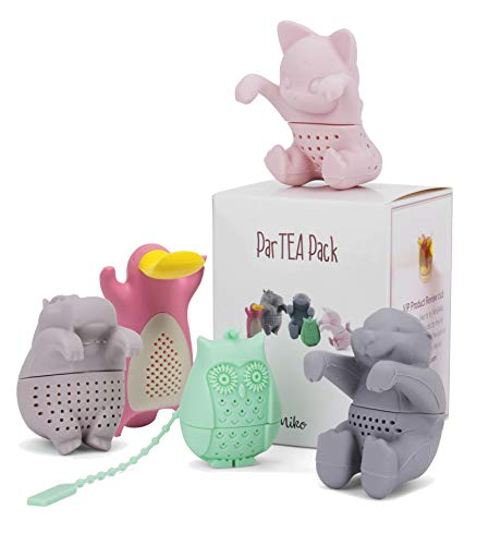 Tea Infuser Set for Loose Tea – Get the Cute Animal Tea strainer ParTea Pack for More Enjoyable Tea Times with Friends and Family, 5-pack, Multi Color