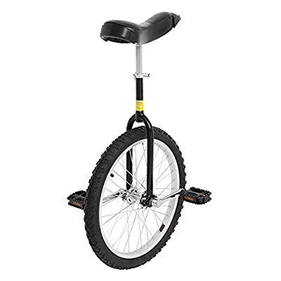 "PEXMOR 24"" Inch Wheel Unicycle with Anti-Skid Tire and Adjustable Release Saddle Seat, One Wheel Bike with Alloy Rim Pedal for Adult Wheel Cycling Outdoor Sports Fitness Exercise Health, Black"