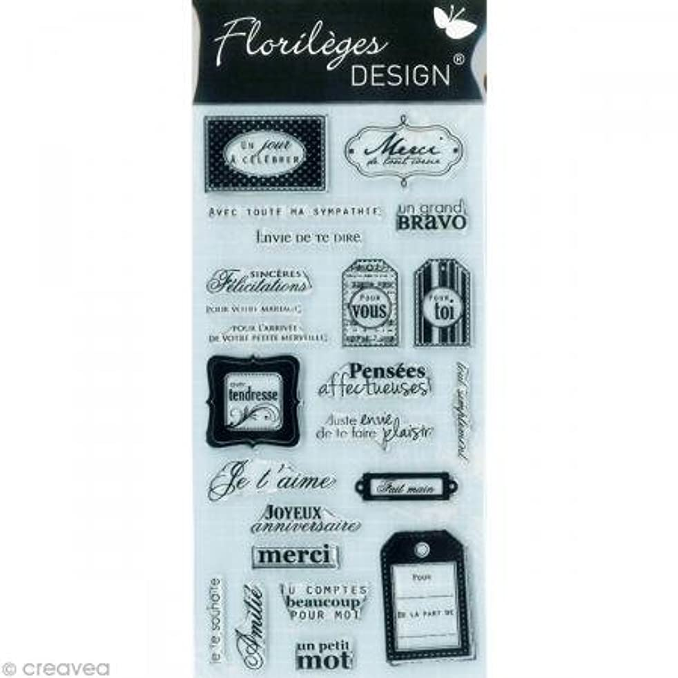 Florilèges Design FDCL112011 - Scrapbooking Stamp - Clear Wishes - Grey - 25 x 11.5 x 0.5 cm