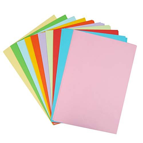 YOTINO 100 Hojas Papel para Origami 10 Colores Papel para Papiroflexia Papel Manualidades Niños DIY Regalo, Dibujo, Impresión Doble Cara Papel para Papiroflexia (A4/70g)