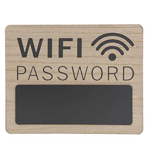 C&E Vintage Retro Schild, Modell WiFi Password, Material Holz, Maße 30 x 24 cm, helles Holz mit Tafelfeld und Piktogramm ideal für Gastro und Zuhause