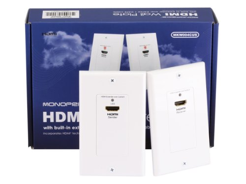 Monoprice HDMI Over CAT5E / CAT6 Extender Wall Plate (Pair) - Single Port (1P) - White
