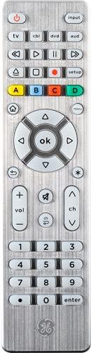 GE Backlit Universal Remote Control for Samsung, Vizio, LG, Sony, Sharp, Roku, Apple TV, TCL, Panasonic, Smart TV, Streaming Players, Blu-Ray, DVD, Simple Setup, 4-Device, Silver, 48844