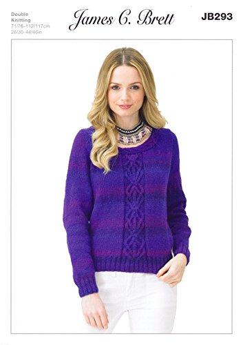 James Brett Double Knitting Pattern Womens Long Sleeved Cable Sweater Jumper Marble DK (JB293)