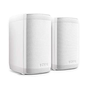 ION Audio Insta Sound | 40W Wireless Rechargeable Outdoor / Indoor Water Resistant Bluetooth Speakers With Rich Lifelike Sound and Wall-Mount Brackets Included
