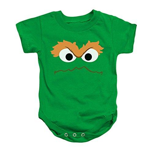 Oscar The Grouch Face Sesame Street Baby Onesie Bodysuit, (6 mos)