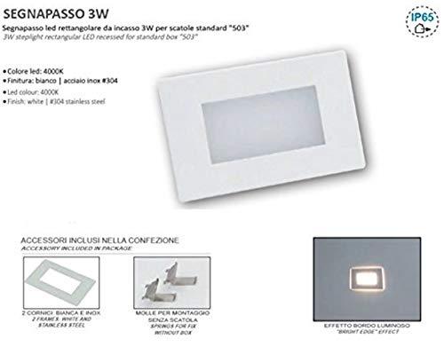 Lampo Luce Faro Led Segnapasso da incasso 3W per scatole standard'503' 230V - 200 Lumen in metallo e policarbonato inox/bianco (SPLED503BC - Luce Calda 3000K)