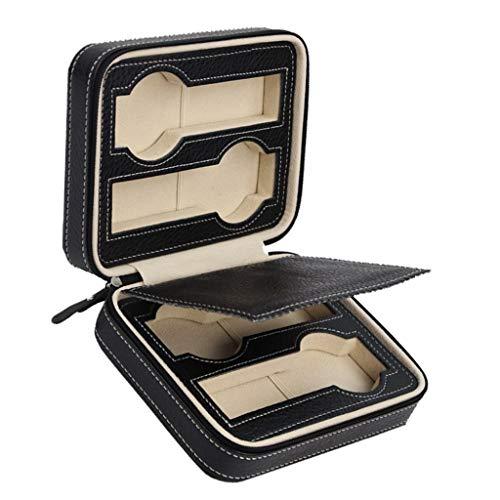 Reloj Dislpay Caja de almacenamiento Caja organizadora de reloj de pulsera de cuero PU para hombres y mujeres