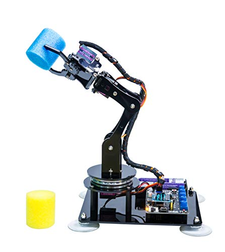 Adeept 5-DOF Robot Arm 5Axis Robotic Arm Kit Compatible with Arduino IDE | Programmable Robot DIY Coding Robot Kit | STEAM Robot Arm Kit with OLED Display | Processing Code and PDF