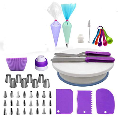 GYY 60-piece Cake Decorating Set Piping Icing Decoration Kit for Beginners Baking Tool Cake Decorating Turntable Silicone Decorating Bag Mouth Fondant Tool Smoother Scraper DIY Cake Combination