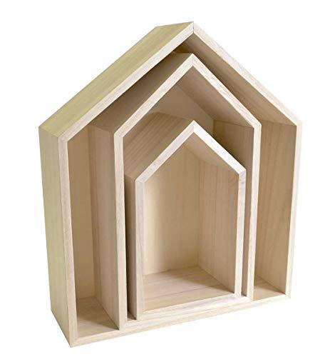 Artemio Set de 3estanterías hogar con boquillas, Madera, Beige, 30x 10x 34,5cm