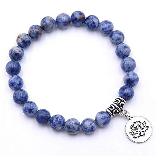 JEWELRY Pulsera azul oscuro 8Mm Lava Stone Flower Colgante Charm Bracelet para Mujeres Hombres Cuentas vintage Pulseras Joyas Navidad Lindo regalo Cumpleaños Fiesta de bodas la bola le da a los amigo