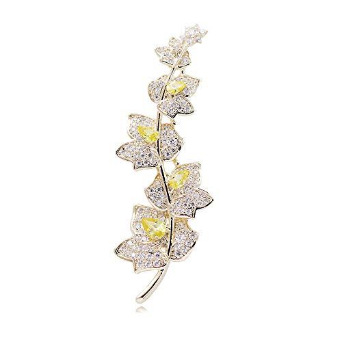 broche ZQ Japón Corea del Sur de Alto Grado Maple Leaf Brooch Temperamento Femenino Simple Coat Pin Cardigan Accesorios de Moda Collar Aguja