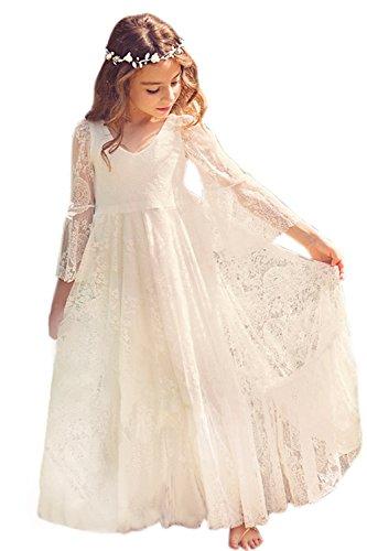 Babyonlinedress El駡nt Robe de Fille Enfant de Mariage/d'Honneur/Soir饠Princesse Noble Col V Longue en Dentelle - Ivoire - 12-13 Ans