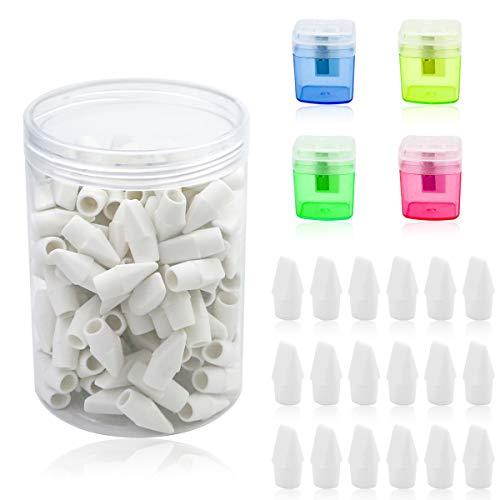 MotBach 150 Pieces White Pencil Top Erasers