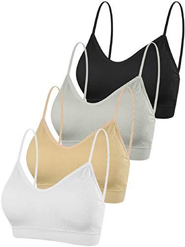 Voqeen 4 Piezas Sujetador con Cuello en V y Top de Tubo Sin Costura Acolchado Bralette Correas Sujetador Deportivo Camisole para Mujer y niña (A)