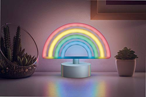 """Merkury Innovations 7"""" inch LED Neon Rainbow Sign,Night Light, Mood Light with Pedestal,Battery Operated Wall Art,Bedroom Decorations,Bedside Lamp,Home Accessories,Party and Holiday Decor: Multicolor"""