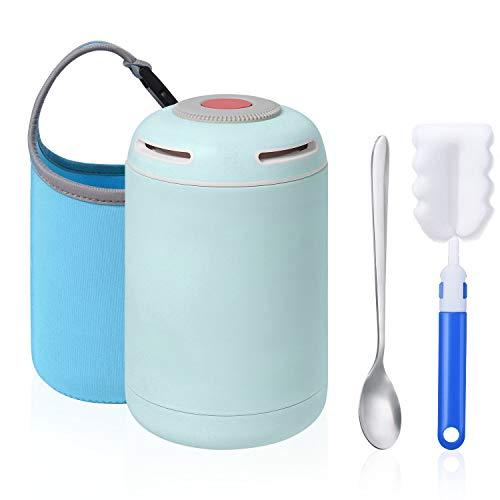 flintronic Thermobehälter, Thermobehälter Lunchbox, 460ml Warmhaltebox Edelstahl Warmhaltebox mit Löffel für Warme Speißen, Brotdosem, Schule, Camping - Blau