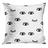 Golee Throw Pillow Cover Black Wink with Open and Winking Eyes White Close Minimal Decorative Pillow Case Home Decor Square 18x18 Inches Pillowcase