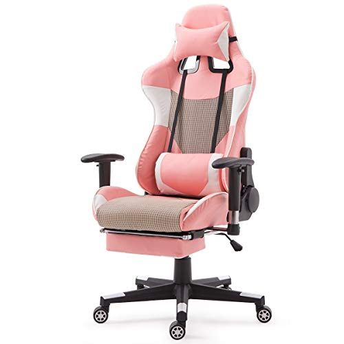Tangkula Gaming Chair, Racing Ergonomic Office Chair, Executive Swivel Computer Desk Chair, Height Adjustable Gamer Chair (Pink) chair gaming white