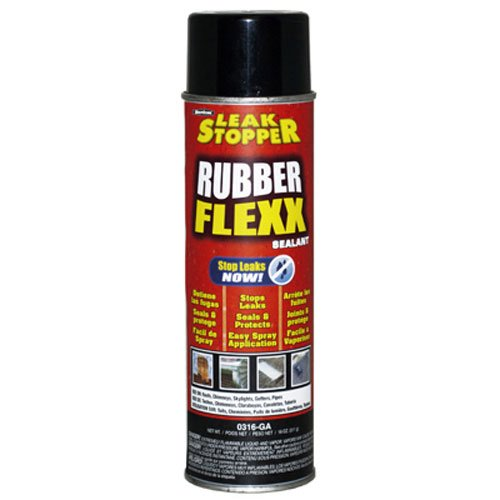 Leak Stopper Rubber Flexx Leak Repair & Sealant Spray 18 Oz   Just Point & Spray for Making basic repairs on wood, asphalt roofing, metal and masonry surfaces   100 % Flexible Seal   Black  