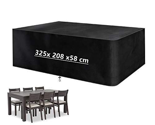 Mutsitaz Funda para Muebles de Jardín Impermeable 420D Oxford Muebles de Jardin Cubierta, Tamaño 325 x 208 x 58 cm